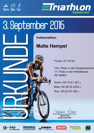 Urkunde vom 10. Maschsee Triathlon Hannover