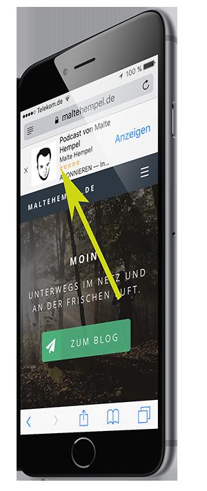 iOS-Gerät mit Smart App Banner