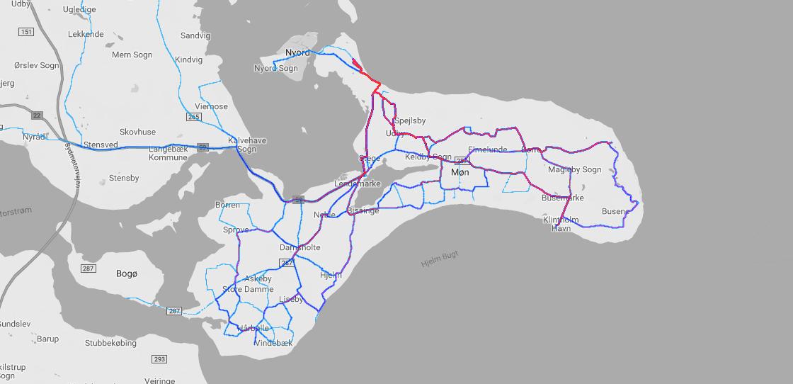 Strava-Heatmap meiner Radtouren auf Møn