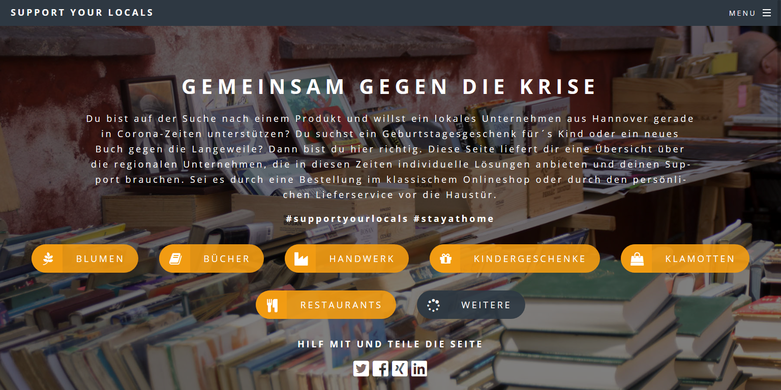 Screenshot von der Website #SupportYourLocals