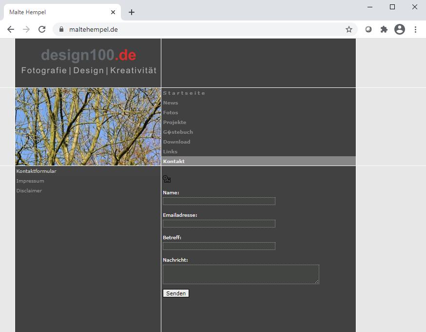 Erste (dokumentierte) Website von Malte Hempel aus em Jahr 2006