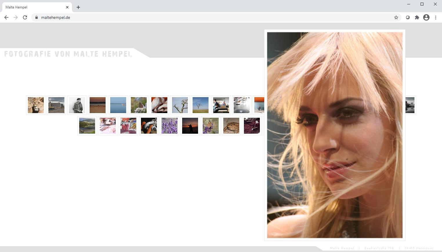 Webseite von Malte Hempel aus dem Jahr 2009.