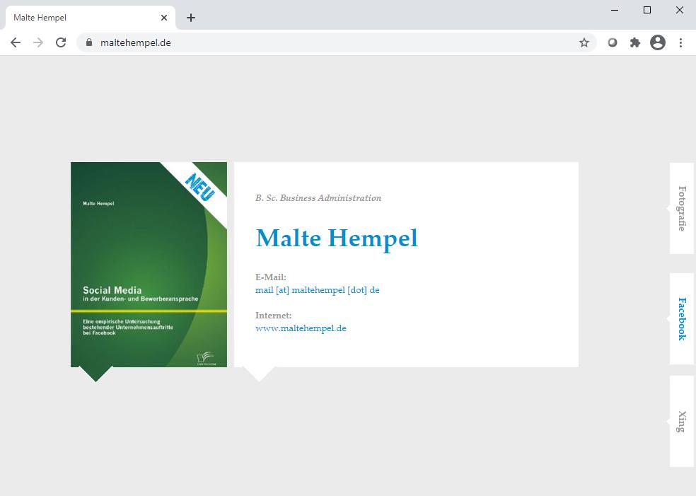 Neuer Ansatz: Reine Online-Visitenkarte und Verlinkung zu den immer relevanter werdenden Netzwerken