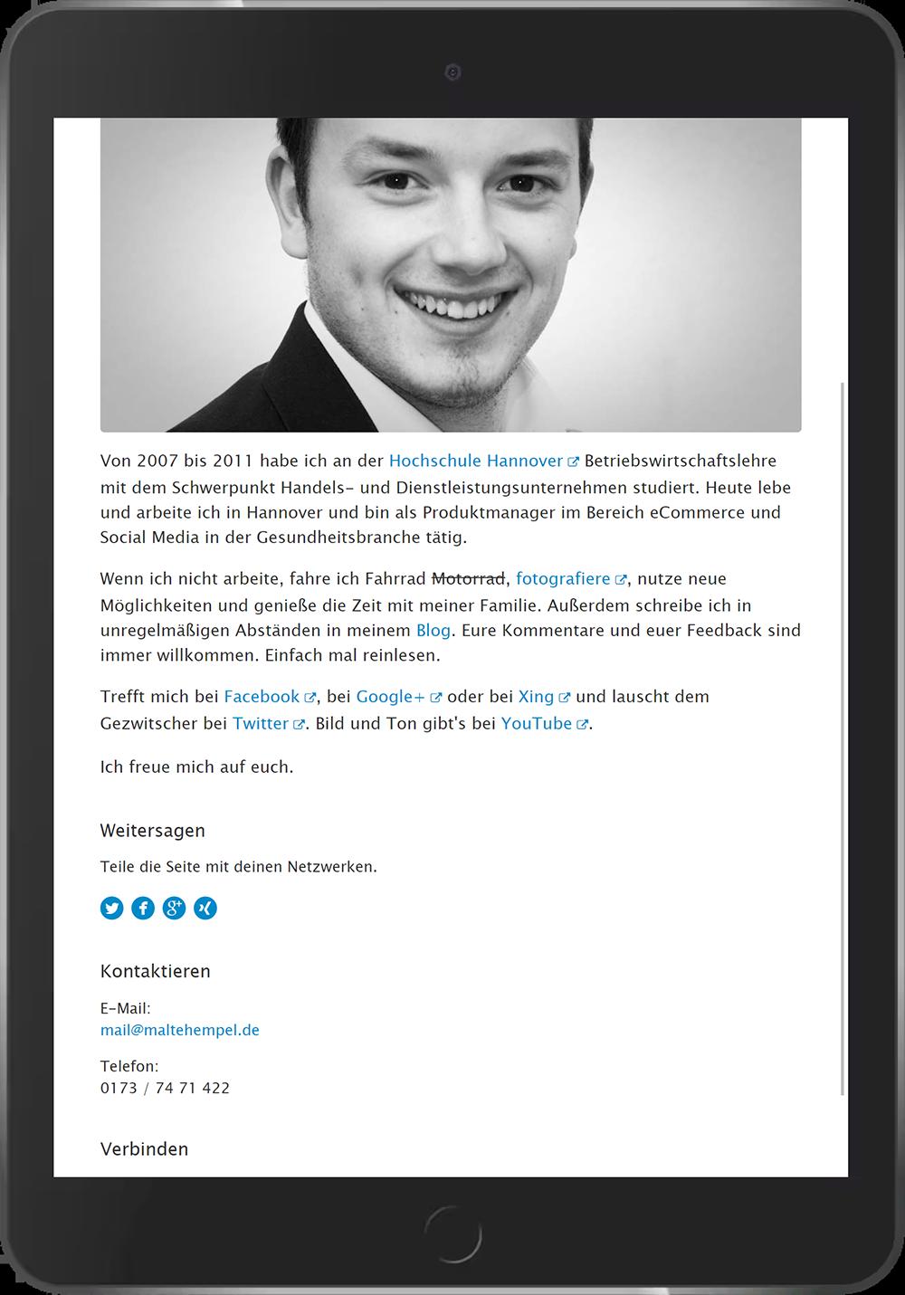 Erste vollständig responsive Webseite von Malte Hempel aus dem Jahr 2014.